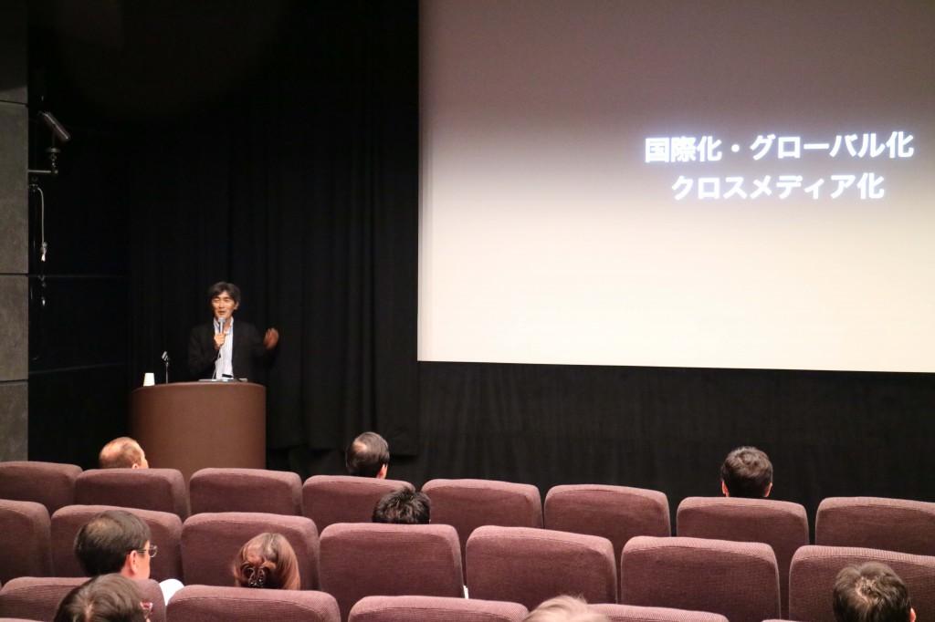 「京都映画若手才能育成ラボ」事業報告をする京都文化博物館主任学芸員の森脇清隆さん